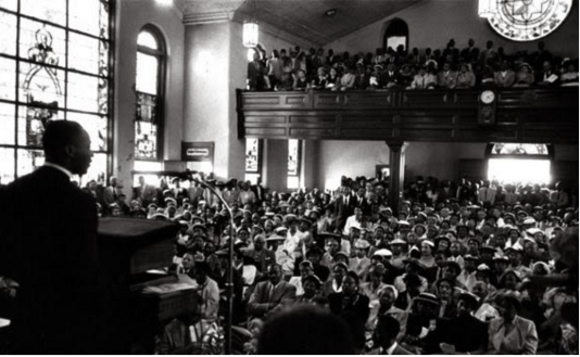 Martin Luther King speaks at the Mason Temple in Memphis April3, 1968