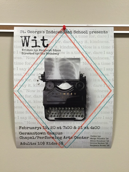Poster for St. George's Production of W;T