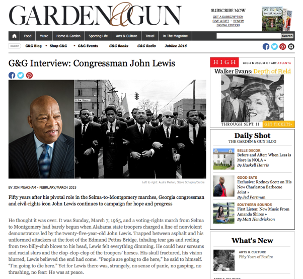 Garden and Gun Interview with John Lewis by Jon Meacham