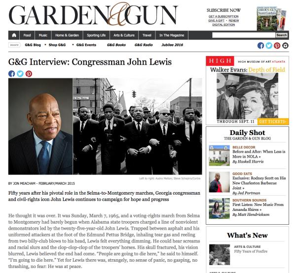 Garden and Gun Interview with John Lewis by Jon Meacham